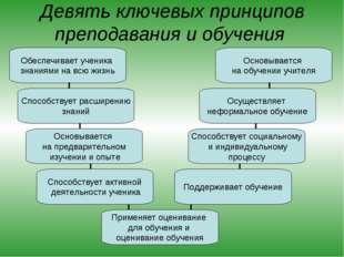 Девять ключевых принципов преподавания и обучения Обеспечивает ученика знания