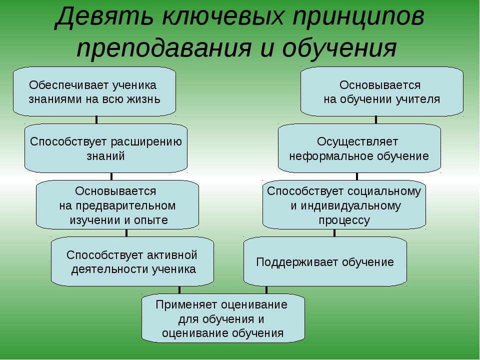 Девять ключевых принципов преподавания и обучения Обеспечивает ученика знания...