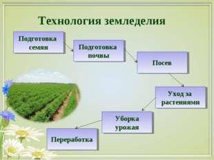Технология земледелия Подготовка семян Подготовка почвы Посев Уход за растени
