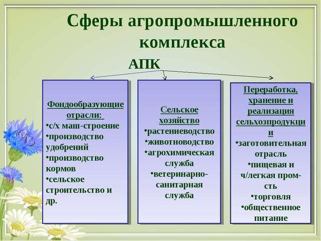 Сферы агропромышленного комплекса АПК Фондообразующие отрасли: с/х маш-строен...