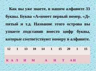 Как вы уже знаете, в нашем алфавите 33 буквы. Буква «А»имеет первый номер, «Д