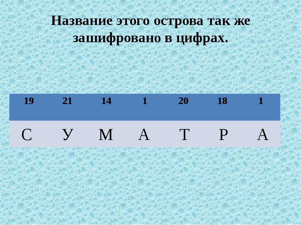 Название этого острова так же зашифровано в цифрах. С У М А Т Р А 19 21 14 1...