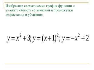 Изобразите схематически график функции и укажите область её значений и промеж