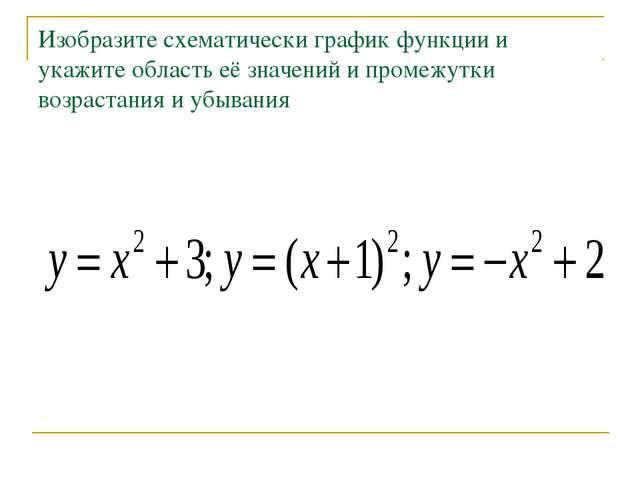 Изобразите схематически график функции и укажите область её значений и промеж...