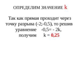 ОПРЕДЕЛИМ ЗНАЧЕНИЕ k Так как прямая проходит через точку разрыва (-2;-0,5),