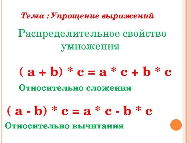 Тест по теме упрощение выражений 5 класс