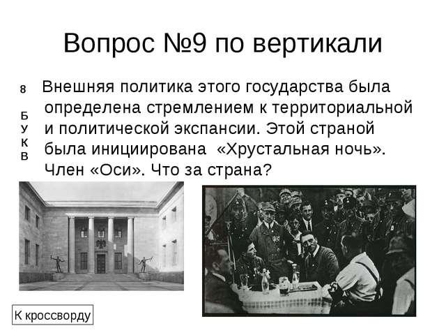 Вопрос №9 по вертикали Внешняя политика этого государства была определена стр...