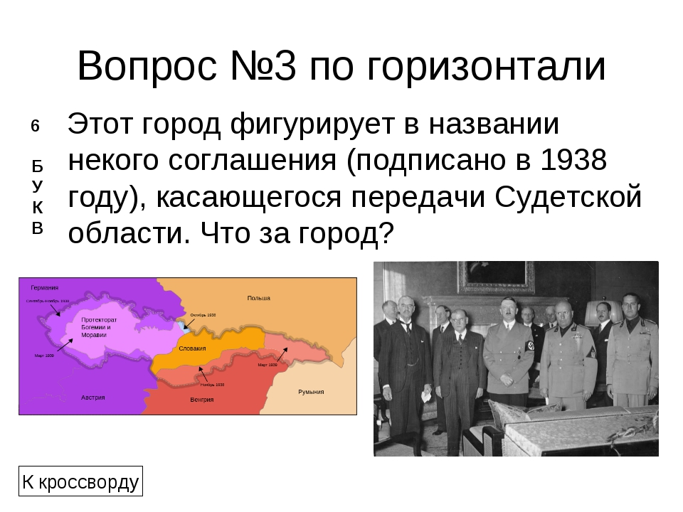 Вопрос №3 по горизонтали Этот город фигурирует в названии некого соглашения (...