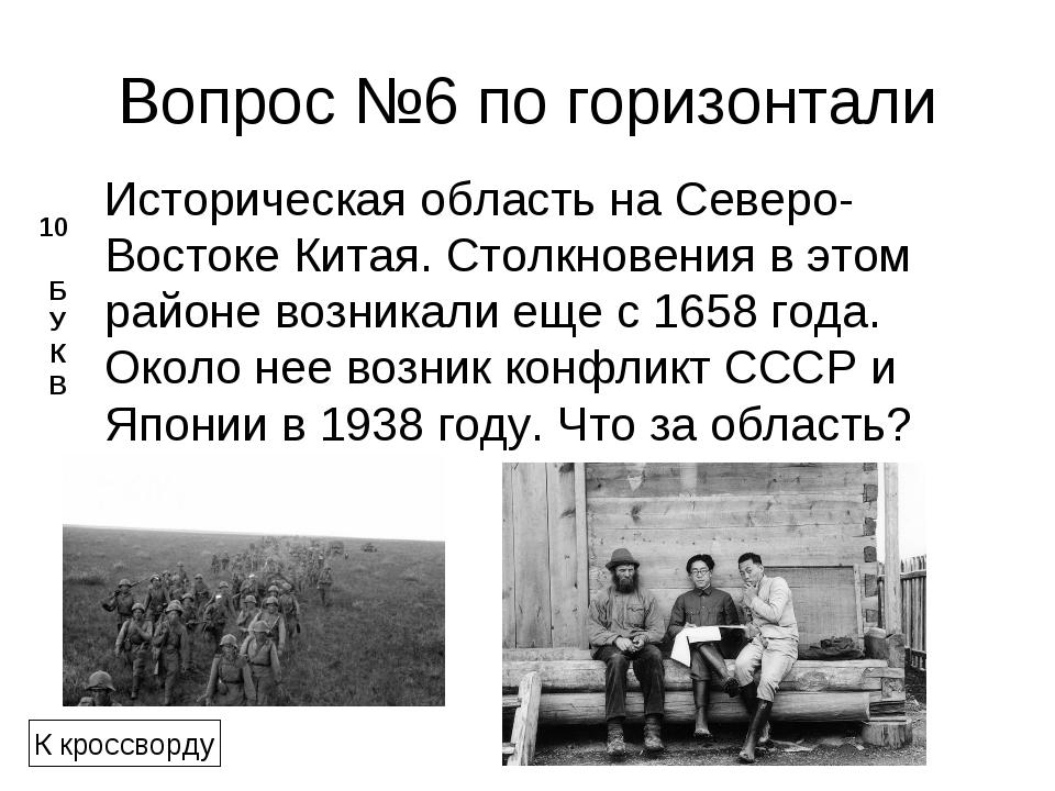 Вопрос №6 по горизонтали Историческая область на Северо-ВостокеКитая. Столкн...