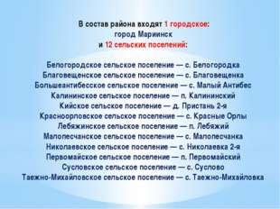 В состав района входят 1 городское: город Мариинск и 12 сельских поселений:
