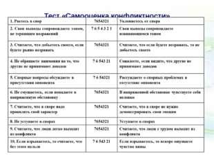 Тест «Самооценка конфликтности»