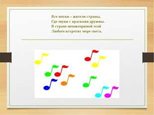 Все нотки – жители страны, Где звуки с красками дружны. В стране неповторимой