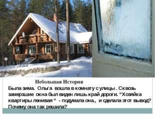 Небольшая История Была зима. Ольга вошла в комнату с улицы . Сквозь замерзшие