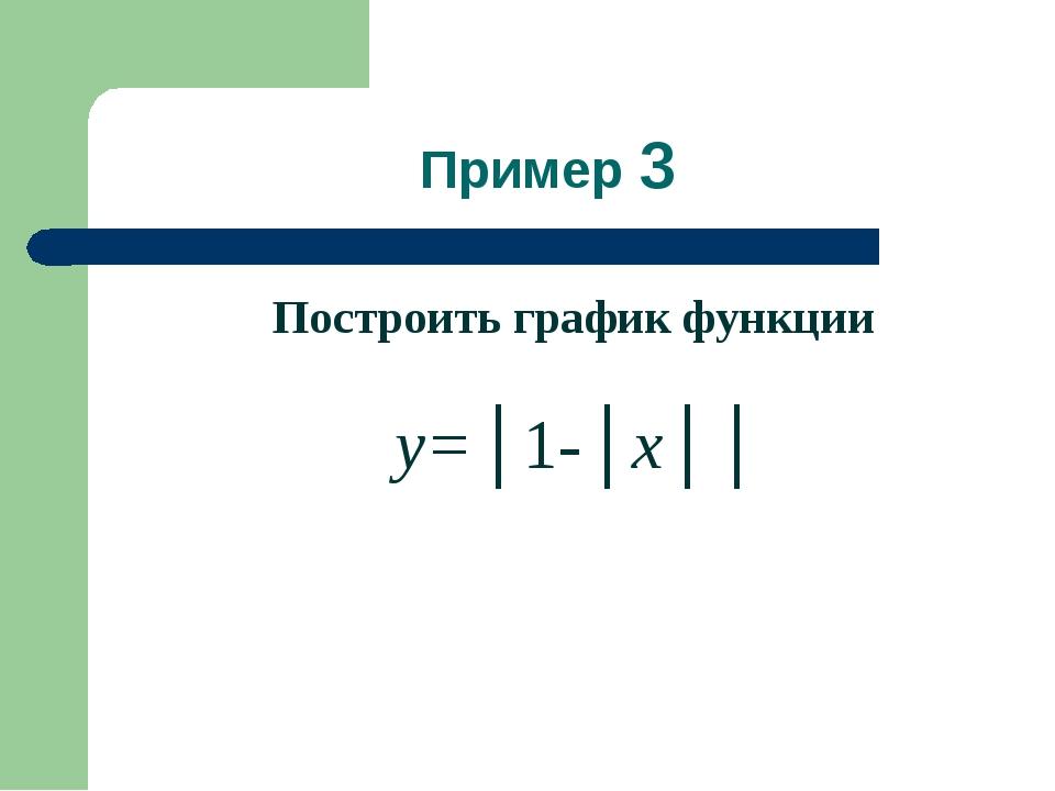 Пример 3 Построить график функции y=│1-│x││