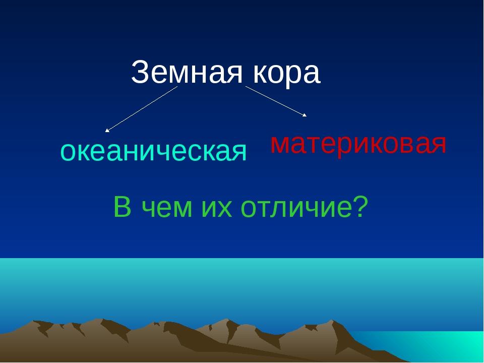 Земная кора океаническая материковая В чем их отличие?