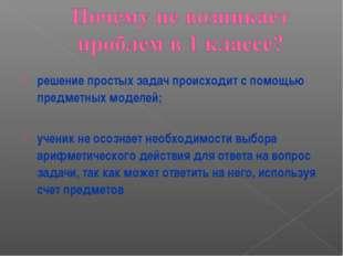 решение простых задач происходит с помощью предметных моделей; ученик не осоз