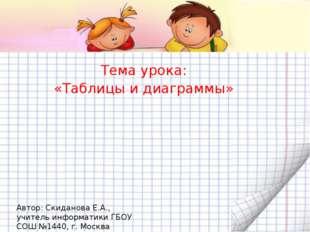 Тема урока: «Таблицы и диаграммы» Автор: Скиданова Е.А., учитель информатики