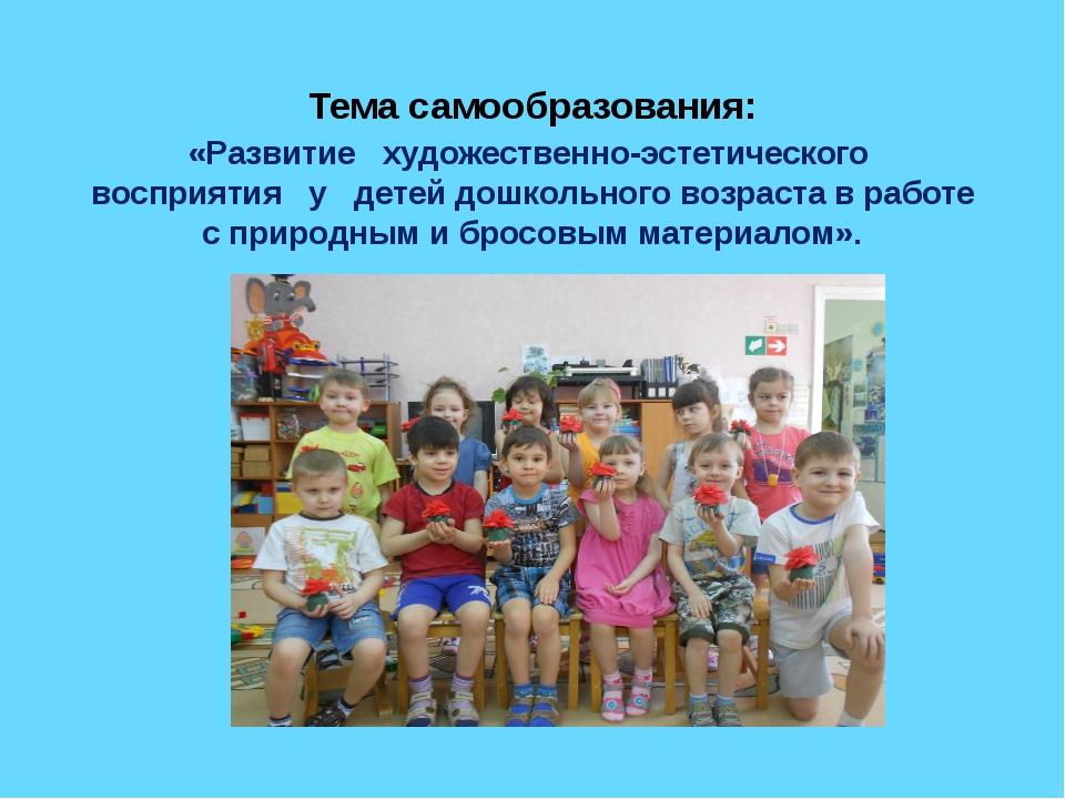 Тема самообразования: «Развитие художественно-эстетического восприятия у дете...