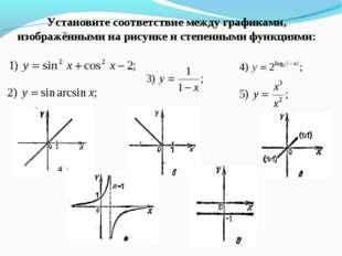 Установите соответствие между графиками, изображёнными на рисунке и степенным