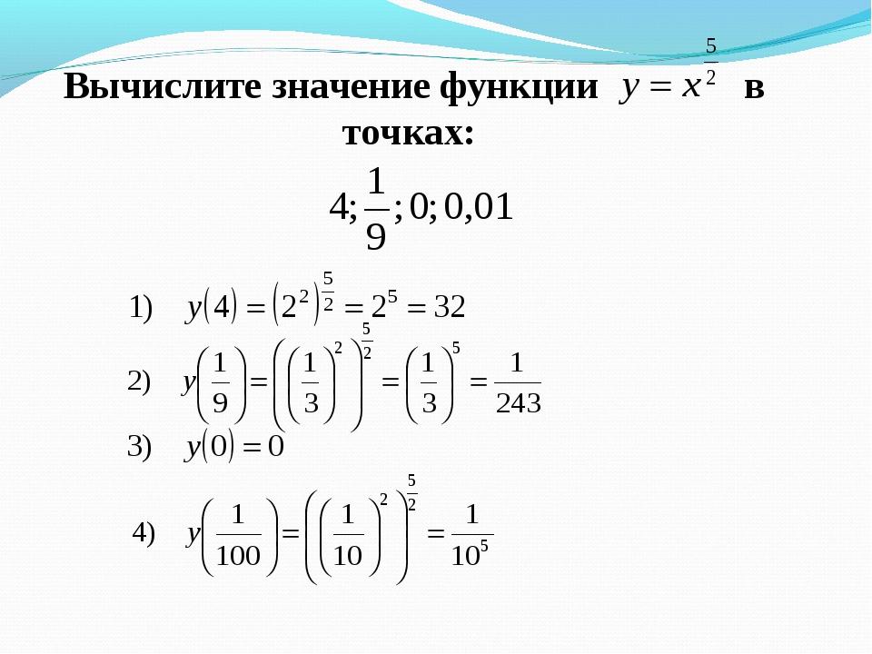 Вычислите значение функции в точках: