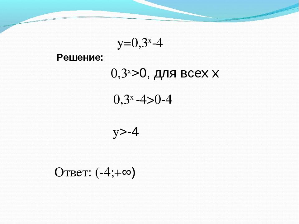 Решение: у=0,3х-4 0,3х>0, для всех х 0,3х -4>0-4 у>-4 Ответ: (-4;+∞)