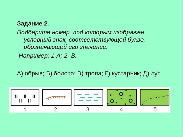 Задание 2. Подберите номер, под которым изображен условный знак, соответству...