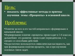 Цель: показать эффективные методы и приемы изучения темы «Проценты» в основно