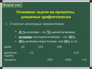 Основные задачи на проценты, решаемые арифметически Усвоение некоторых эквива