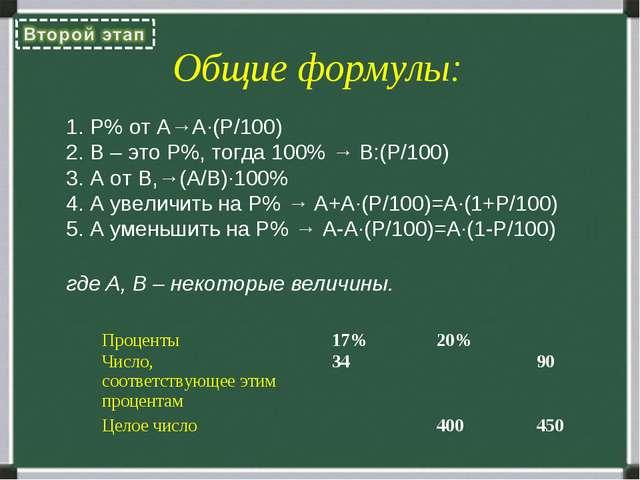 Общие формулы: P% от A→A∙(P/100) B – это P%, тогда 100% → B:(P/100) А от В,→(...
