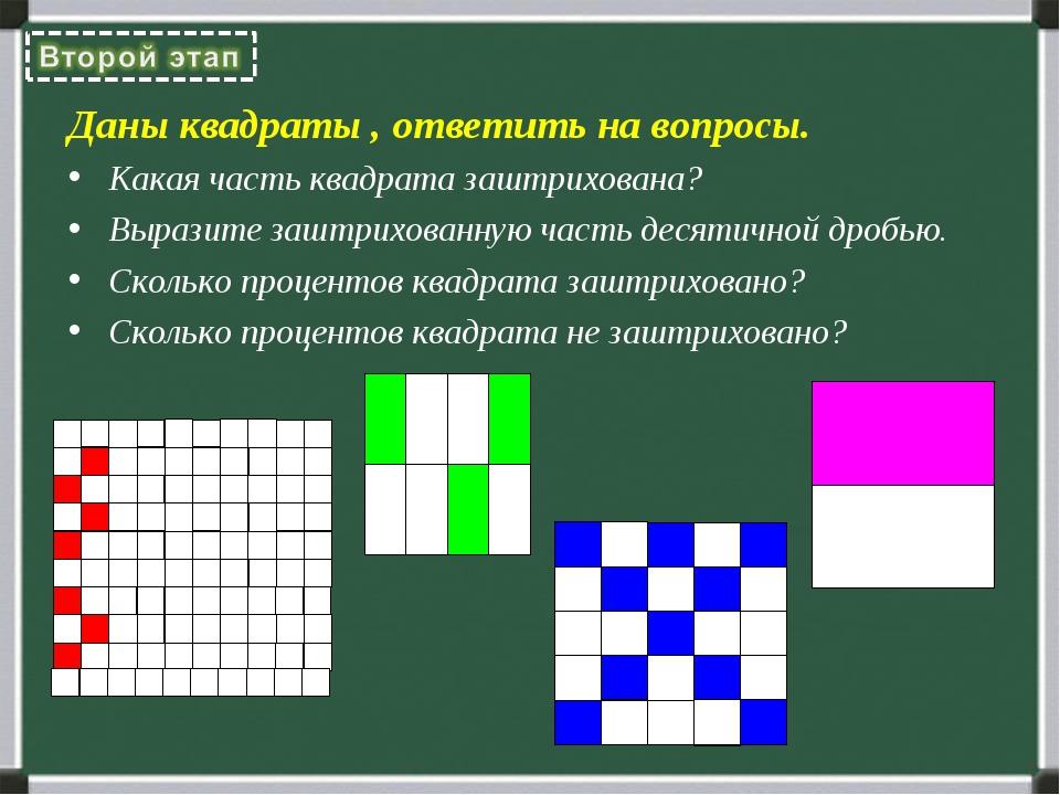 Даны квадраты , ответить на вопросы. Какая часть квадрата заштрихована? Выраз...