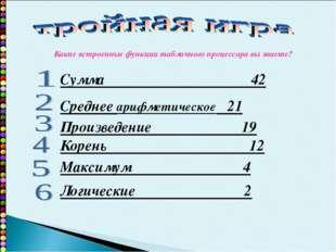 Сумма 42 Среднее арифметическое 21 Произведение 19 Корень 12 Максимум 4 Логич