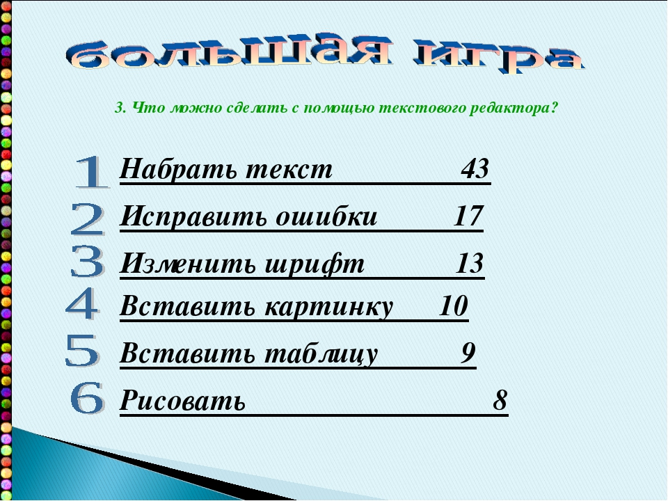 Набрать текст 43 Исправить ошибки 17 Изменить шрифт 13 Вставить картинку 10 В...
