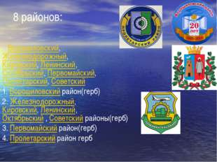 8 районов: Ворошиловский, Железнодорожный, Кировский, Ленинский, Октябрьский,