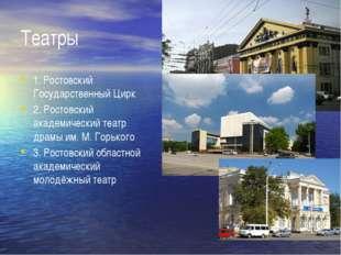 Театры 1. Ростовский Государственный Цирк 2. Ростовский академический театр д