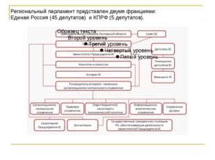 Региональный парламент представлен двумя фракциями: Единая Россия (45 депутат