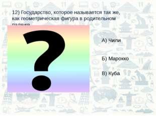 12) Государство, которое называется так же, как геометрическая фигура в родит