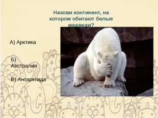 Назови континент, на котором обитают белые медведи? А) Арктика Б) Австралия В
