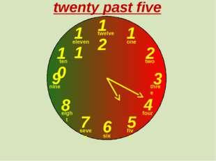 12 1 2 3 9 6 4 5 7 8 10 11 twenty past five one two three twelve four five s