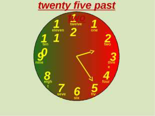 12 1 2 3 9 6 4 5 7 8 10 11 twenty five past two one two three twelve four fi