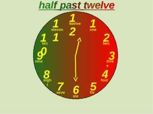 12 1 2 3 9 6 4 5 7 8 10 11 half past twelve one two three twelve four five s