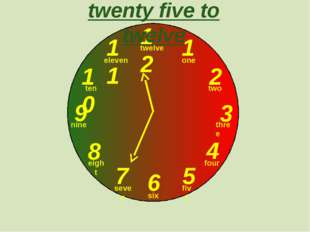 12 1 2 3 9 6 4 5 7 8 10 11 twenty five to twelve one two three twelve four f