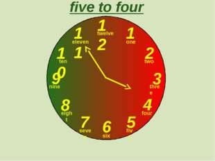 12 1 2 3 9 6 4 5 7 8 10 11 five to four one two three twelve four five six s