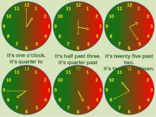 It's one o'clock. It's quarter to eight. It's half past three. It's quarter p