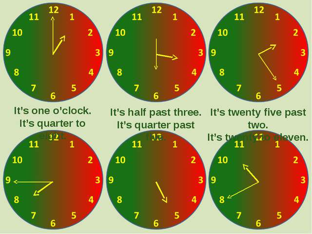 It's one o'clock. It's quarter to eight. It's half past three. It's quarter p...
