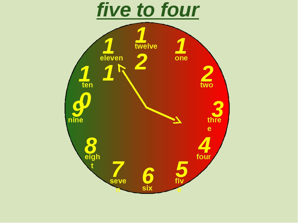 12 1 2 3 9 6 4 5 7 8 10 11 five to four one two three twelve four five six s...