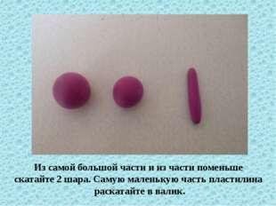 Из самой большой части и из части поменьше скатайте 2 шара. Самую маленькую ч
