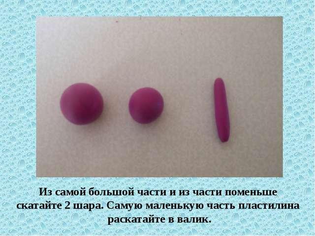 Из самой большой части и из части поменьше скатайте 2 шара. Самую маленькую ч...