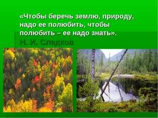 «Чтобы беречь землю, природу, надо ее полюбить, чтобы полюбить – ее надо знат