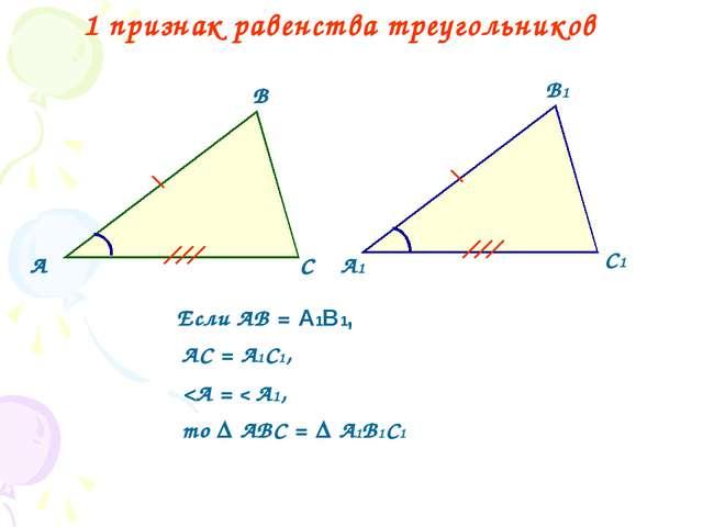 1 признак равенства треугольников А В С А1 В1 С1 Если АВ = А1В1, АС = А1С1,