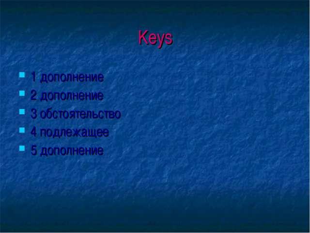 Keys 1 дополнение 2 дополнение 3 обстоятельство 4 подлежащее 5 дополнение